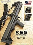 the new Kel-Tec KSG 1....it's a tactical dual chamber/tube/magazine shotgun...each tube holds 7 shells at 2+3/4 length...12g    thus making this bad...
